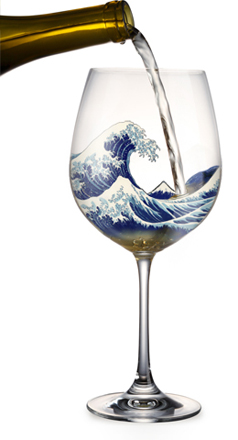 Wine glass and Hokusai